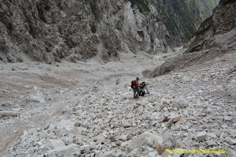 Parte alta del ghiaione.