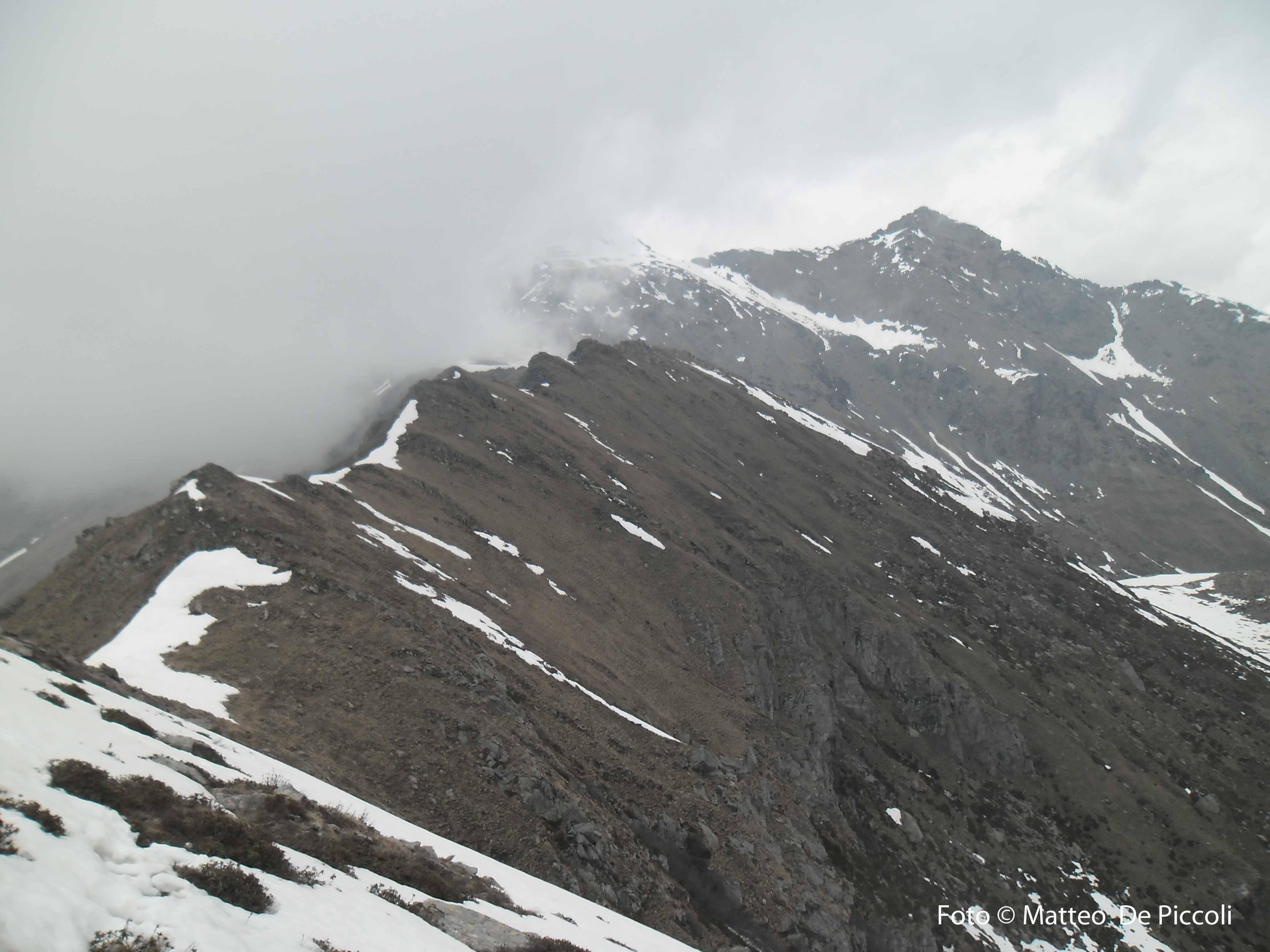 La cresta da percorrere e Punta Lunella sulla destra