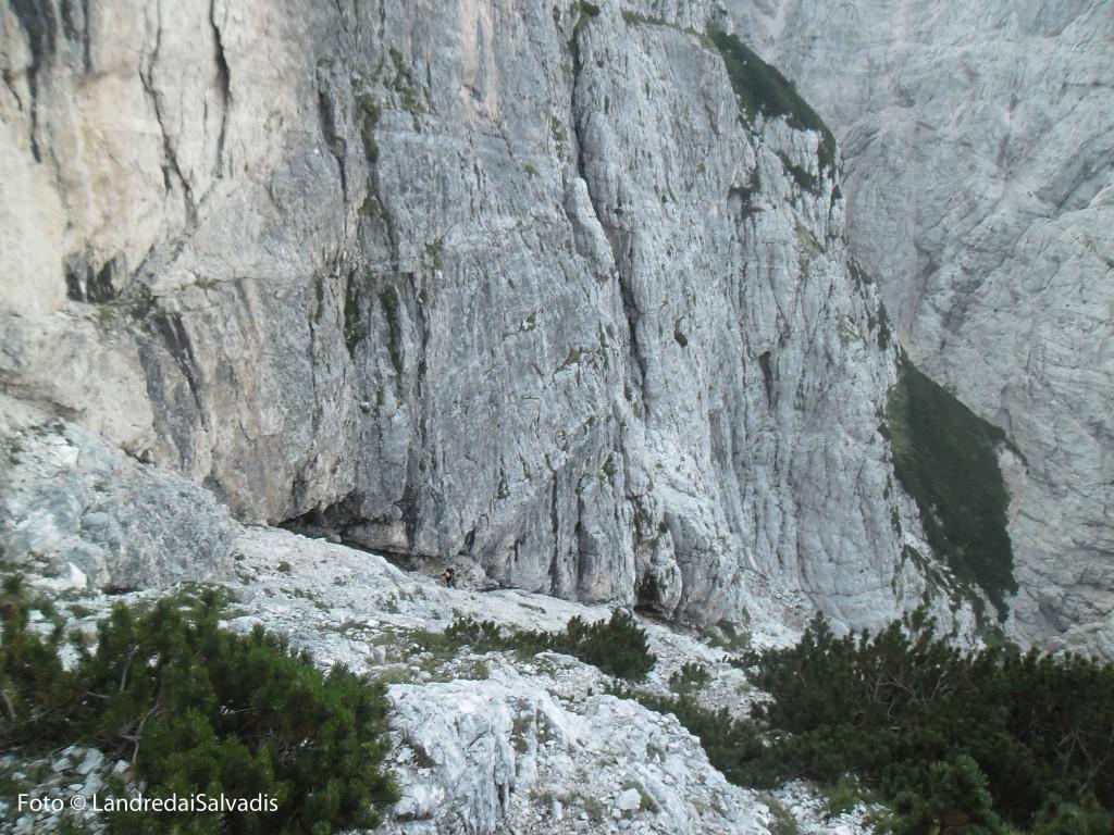 Siamo quasi al Muschi, le pareti del Montasio ci sovrastano ora impressionanti.