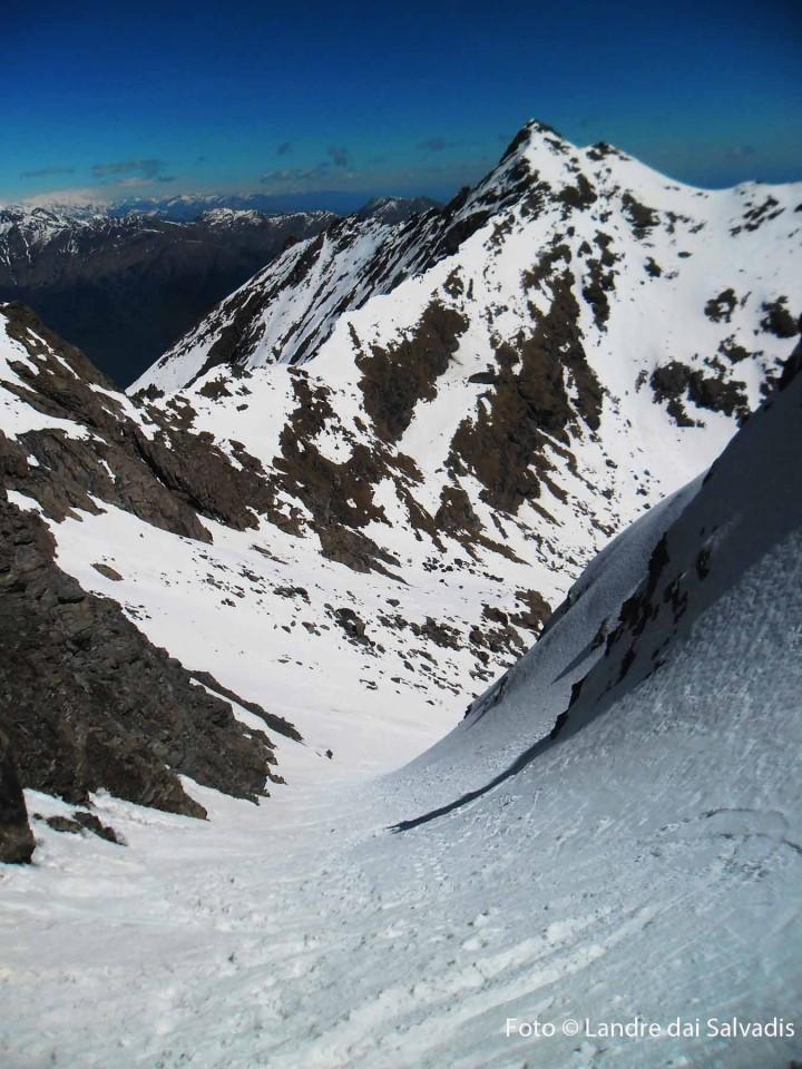 Il canale Est e la dorsale percorsa fino a punta Rocca Nera